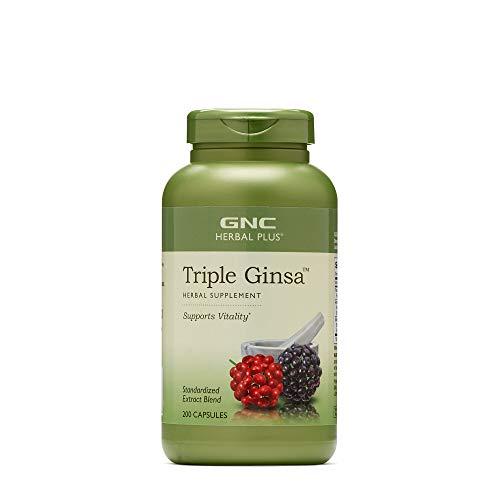 GNC Herbal Plus Triple Ginsa, 200 Capsules, Supports Vitality