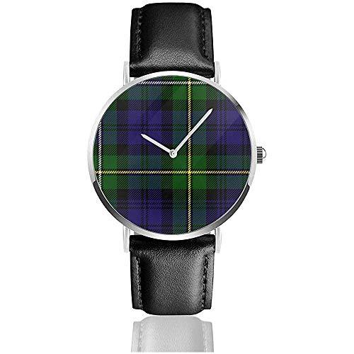 Scottish Plaid Grün Schwarz Blau Campbell Herren Damen Casual Armbanduhr Herrenuhren