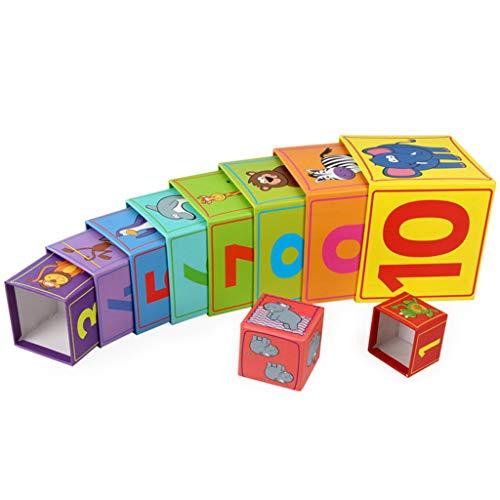 UEXCN Quadratische 10-lagige Papierbox, stapelbar, Tiernummernerkennung, frühkindliche Bildung, macht Spaß mit Kindern