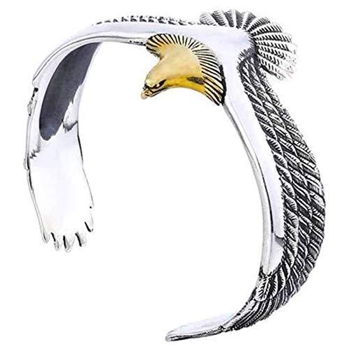 YSHUAI Fashion Eagle Cuff Bracelet for Men, Punk Bangle Vintage Rock Cuff Wristband Bracelet, Eagle Cuff Bracelet for Women Wrisband Open Ended Bangle,Gold