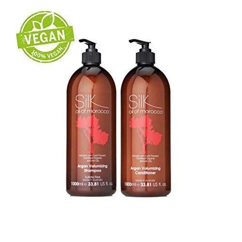 Soie Huile de Maroc Argan Volumateur Shampoing & Conditionneur (Shampoing et Après-shampoing, Ensemble Salon Taille 1000ml) - Cheveux Épaississant - pour Fins, Gras