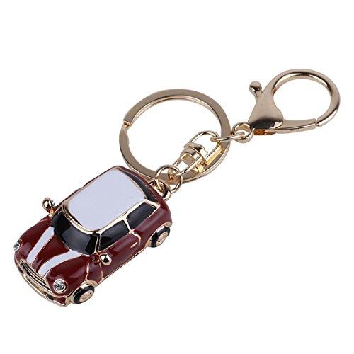 Llavero - TOOGOO(R) Llavero de aleacion de forma de coche Mini Jeep, Rojo y Oro