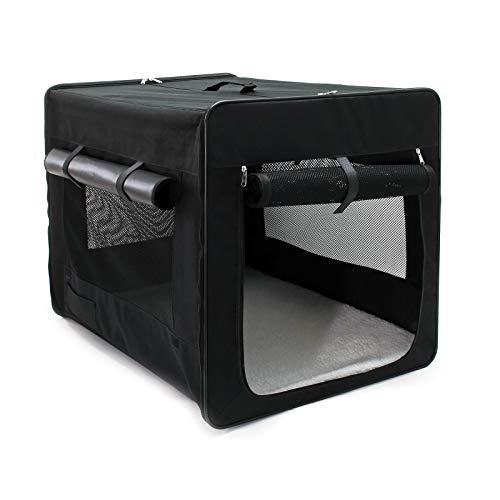 Wiltec Faltbare Transportbox für Haustiere, Größe XXL (106x71x81 cm), mit herausnehmbarem Einlagekissen