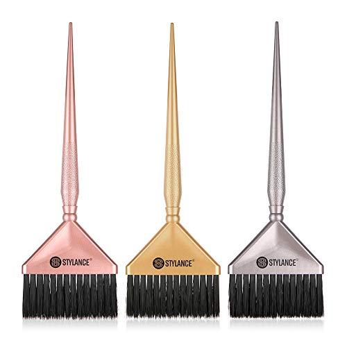 3 Pieces Hair Color Brush, Hair Dyeing Brush Tool Set, Hair Coloring Dyeing Brush Kit for Salon & Home DIY Hair Dye Brush (Silver+Rose gold+Gold)