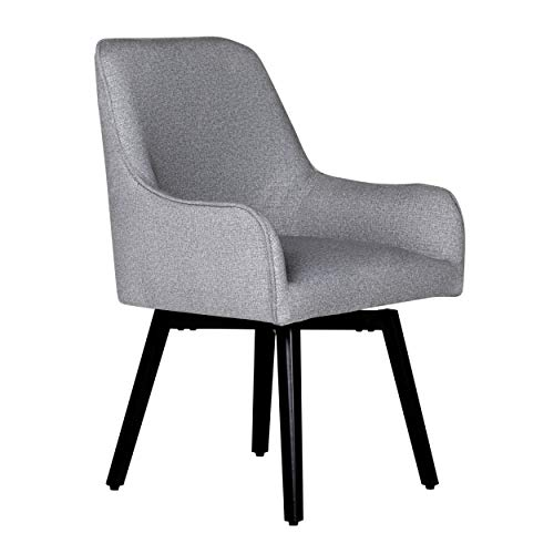 Studio Designs Home Contemporary Spire Luxe Swivel, Rotating, Upholstered, Accent Dining/Office Chair with Arms and Metal Legs in Heather Gray