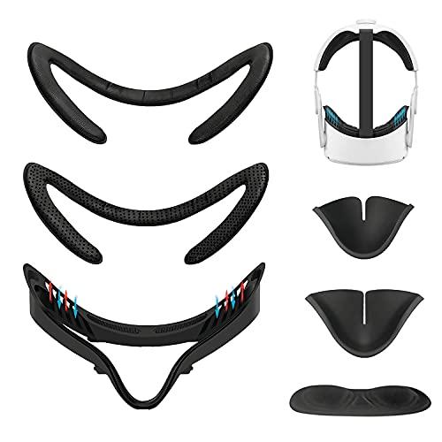 Kazolen 5 en 1 VR accesorio para Oculus Quest 2, VR Soporte de interfaz Facial y cojín de repuesto de espuma de poliuretano, lente tapa antipolvo, protector de nariz antifugas para Oculus Quest 2