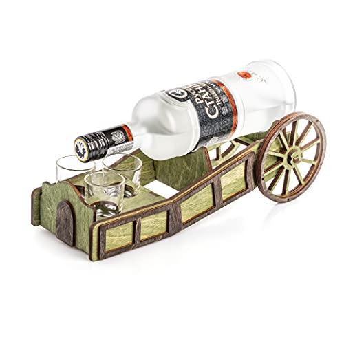Minibar - Portabotellas de madera, diseño de carro