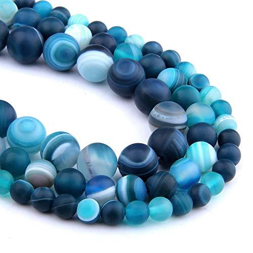 Heng Perle di Pietra Naturale Opaca Strisce Blu Lucide Agate Perline di Pietra Distanziatore Fai-da-Te Perline sciolte per Gioielli Che Fanno Braccialetto `` 10mm (Circa 36 Pezzi)