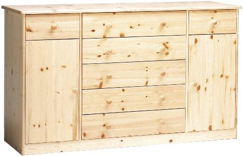 Steens Mario Highboard, 5 große und 2 kleine Schubladen, 2 Türen, 150 x 89 x 47 cm (B/H/T), Kiefer massiv, natur lackiert