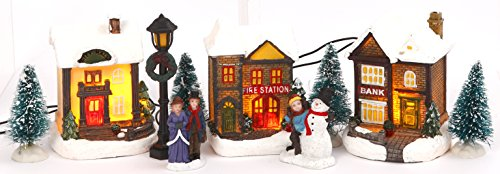 Miniature Lighted 10-Piece Christmas Village Scenes - Tabletop Holiday Decorations (Fire Station)