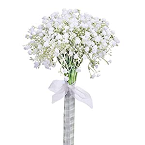 Lifelike White Artificial Baby's Breath Flowers wedding bouquet with Silk Ribbon Real looking Gypsophila Bridal Fake flower bunch for party Home table DIY Decoration Centerpieces-1 Bunch of 24PCS