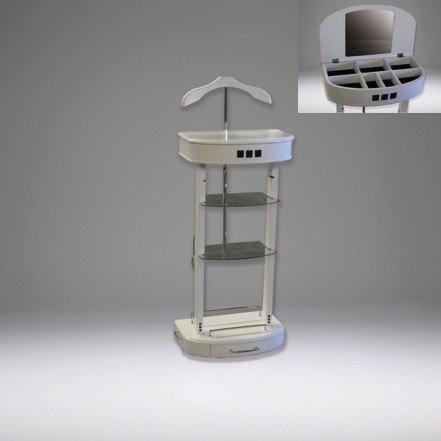 Casa Padrino Designer Garderoben Ständer mit Spiegel und Regalen Weiß - Dressboy - Kleiderständer Anzugständer - Barock Empire Art Deco Jugendstil Biedermeier