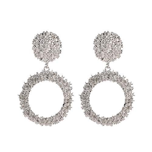 Lazzboy Ohrringe Elegante Charm Boho-Anweisung große geometrische Runde Tropfen baumeln Ohrstecker(Silber)