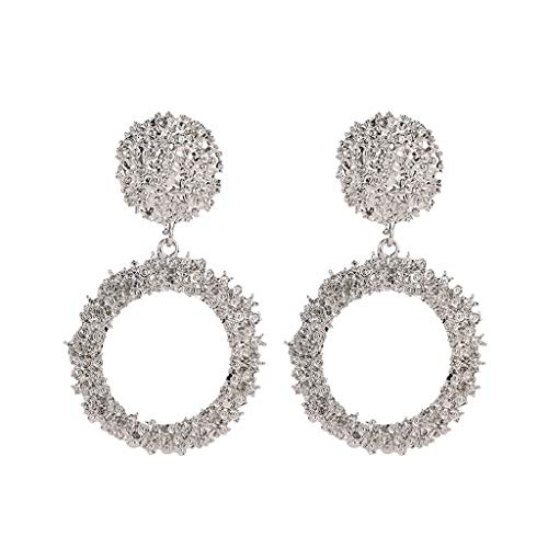 Minshao 1 Pair Alloy Elegant Charm Boho Statement Big Geometric Round Drop Dangle Stud Earring for Women (Silver)