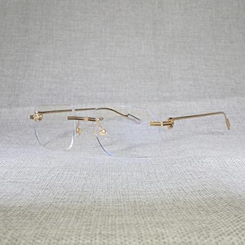 Gafas De Sol Gafas De Sol Cuadradas Sin Montura Vintage para Hombre, Gafas Transparentes con Montura De Metal con Forma De Lente Nueva, Montura Dorada