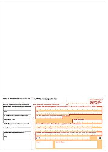 1.000 x SEPA Laser-Zahlschein (mit DE) / Überweisungsvordruck / DIN A4 / bankneutral / beleglesefähiges OCR-Papier / mikroperforiert / 90g