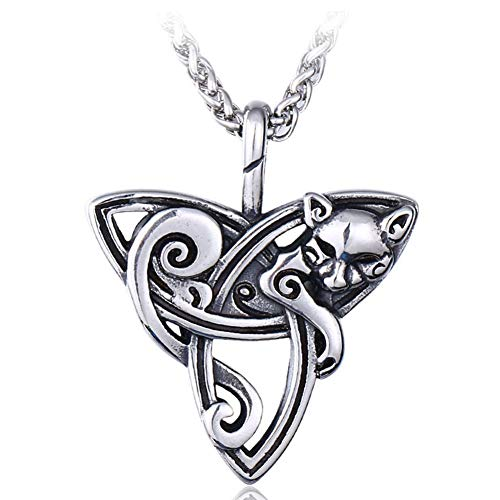 DFWY Viking Celtic Knot Fox Pendant Necklace,Men Stainless Steel Triquetra Totem Animal Pagan Amulet,Fashion Vintage Gothic Style Nordic Pirate Jewelry (Size : 60CM)