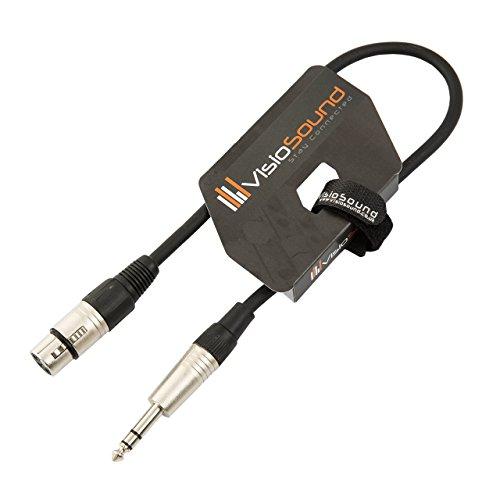XLR 3-Polig Weiblich Buchse auf 6,3mm Stereo Klinke/Symmetrisches Signal/Mikrofon/Audio/Patchkabel 0.5m Schwarz