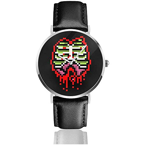 Zombie Guts 8 Bit Uhren Quarzlederuhr mit schwarzem Lederband für Sammlungsgeschenk
