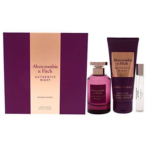 Abercrombie and Fitch Authentic Night For Women 3-teiliges Geschenk-Set, Eau de Parfum, Spray, 15 ml, Reisespray, 190 ml
