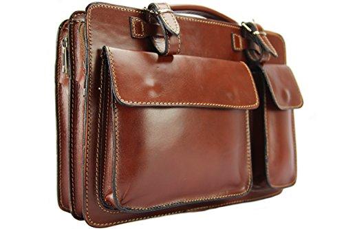 Business- und Laptoptaschen Italienische Luxus Aktentasche M (Braun)