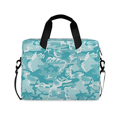 Turquoise Light Blue Camo Camouflage Laptop Case 15.6 Inch Computer Carrying Protective Case with Strap Bag