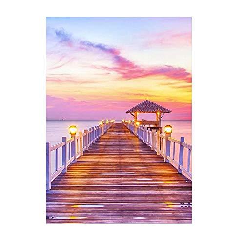 DIY Diamante Painting para Adultos Pabellón puente de madera sobre el mar. Bordado a Mano de Bricolaje Pintura de Diamante de Cristal para hogar Decoraciones de Pared40x50cm