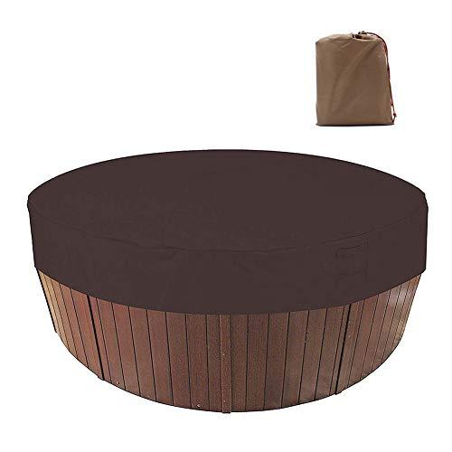 HEWYHAT Outdoor SPA Whirlpool-Abdeckung, Runder Pool-Staubschutz, Schutzabdeckung, 210D Poolabdeckungen, elastische Saumkordel,Kaffee,215×70cm