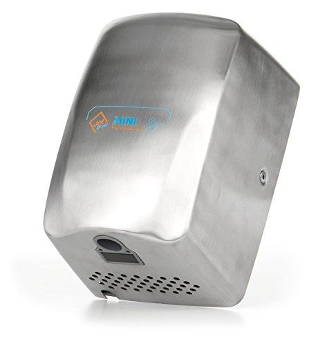Secador de manos automático Jet Dryer Mini, potente y compacto, acero inoxidable, color plateado