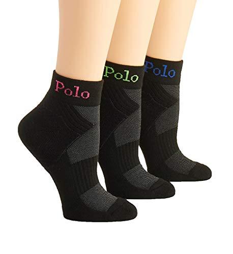 Polo Ralph Lauren Damen Socken 3 Paar Knöchel - Schwarz - Einheitsgröße
