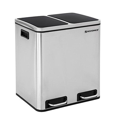 SONGMICS Cubo de Reciclaje de 30L, Cubo de Basura de Metal, Basurero con Cubo Interno y Asas, 2 x 15 litros para Cocina, Cierre Suave, Hermético, Plata LTB30H