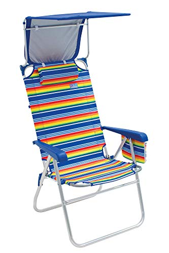 Rio Beach Hi-Boy 17' Extended Seat Height Folding Beach Chair with Sun Shade Canopy Cover