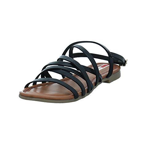 s.Oliver Damen 28101-001 Schwarze Glattleder Sandalette Größe 38 EU Schwarz (Black)