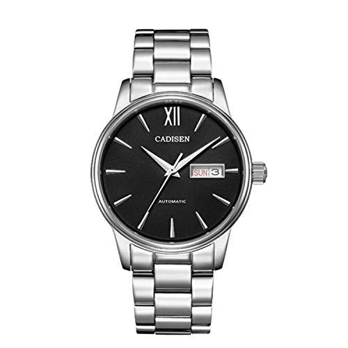 CADISEN Men Watch Automatic Mechanical Role Date Fashion Luxury Brand Waterproof Clock Male (Black)