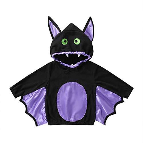 zhushuGG Kinder Fledermaus Kostüm Halloween Vampir Fledermaus Cosplay Kostüme Hoodie Sweatshirt für Kind Mädchen Junge 6M-4 Jahre (6-12 Monate)