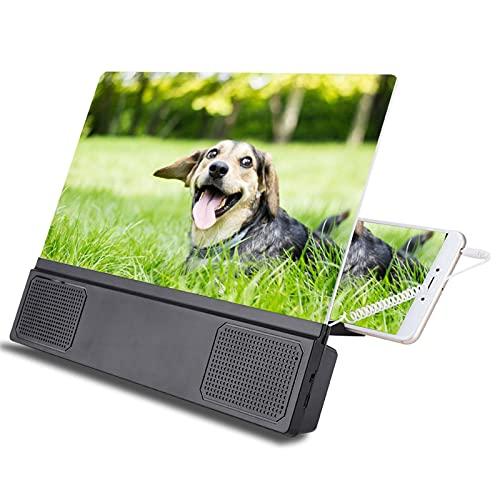 Handy Bildschirmlupe, 12 Zoll tragbarer Mobile Phone Screen Projection Magnifier 3D HD Handy Lupe Projektor mit Audio Lautsprecher, 3 Fache Vergrößerung Film Video Projektor mit Faltbarer Halterung