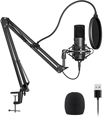 TDTOK Condenser USB Microphone Computer PC Microphone Kit with Adjustable Scissor Arm Stand Shock Mount for Chipset for PC Karaoke, YouTube, Gaming Recording