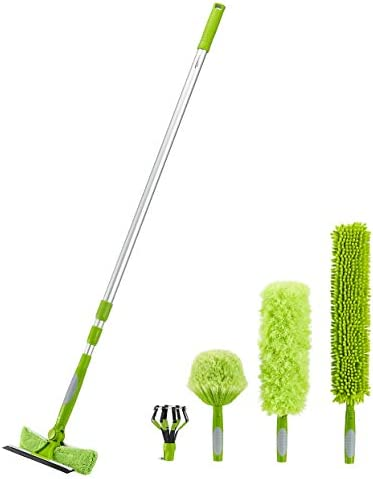 Amazon Basics Multi Purpose Extension Pole Kit Includes Light Bulb Changer Swivel Squeegee and product image