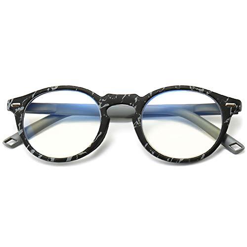 KOOSUFA Gafas de lectura con filtro de luz azul, para hombre y mujer, con bisagra de resorte, redondas, ayuda de lectura, antifatiga, con grosor 1,0, 1,5, 2,0, 2,5, 3,0, 3,5, 4,0. 1x negro Talla única