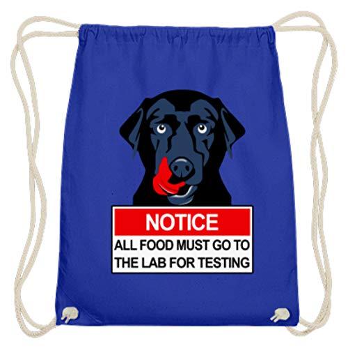 SPIRITSHIRTSHOP Notice All Food Must Go To The Lab For Testing- schwarzer Labrador - Baumwoll Gymsac -37cm-46cm-Royales Blau