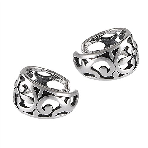 Filigree Swirl Celtic Cutout .925 Sterling Silver Detailed Tapered Ear Cuff Earrings