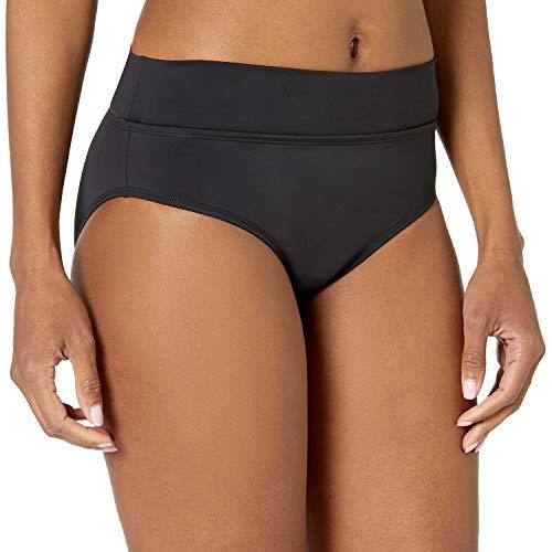 Skye Women's Mid Waist Full Coverage Bikini Bottom Swimsuit, Black, Medium