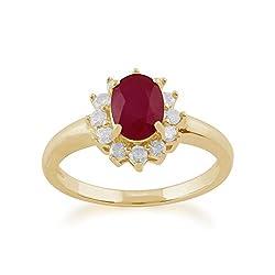 Genuine Ruby Gemstones 9ct Yellow Gold (375 Hallmark) July Birthstone Jewellery, Ruby Comes Boxed in a Black Leatherette Display Box Gemondo Jewellery