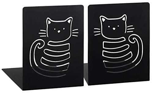 Moses libri_x boekensteunset Miau | set van 2 boekenstandaard van metaal | twee zwarte metalen boekensteunen in set | met prachtig uitgestanste katten