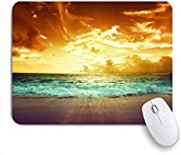 NINEHASA 可愛いマウスパッド 夏の海岸の夕日セイシェルナイトオレンジビーチスカイネイチャーパークスホライゾンカームアウトドア誰もカスタマイズされていないラップトップオフィス