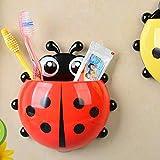 Eeilyin Cute Toothbrush Holder Cartoon Ladybug Design Toothpaste Organizer Toothbrush Box Wall Suction Cup Bathroom Storage Wall Decoration Hook Travel Toothbrush Storage (Red)