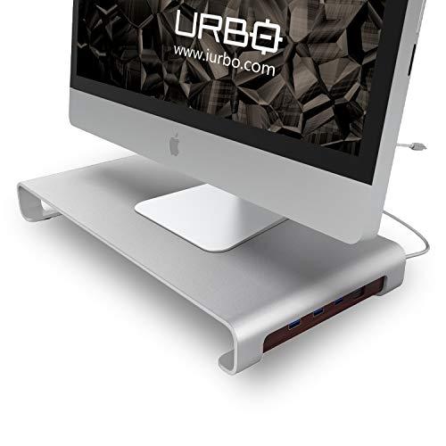 Urbo Soporte de Monitor y portátil con concentrador hub USB Tipo C para conectar múltiples Dispositivos y almacenar el Teclado en Espacios de Trabajo eficientes en Oficina, hogar y coworking