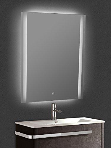 Yellowshop - Specchio Specchiera Cm L.60 x H.80 A Luce LED Retroilluminato Filo Muro Bagno Design Moderno con Touch Modello Vertical 68