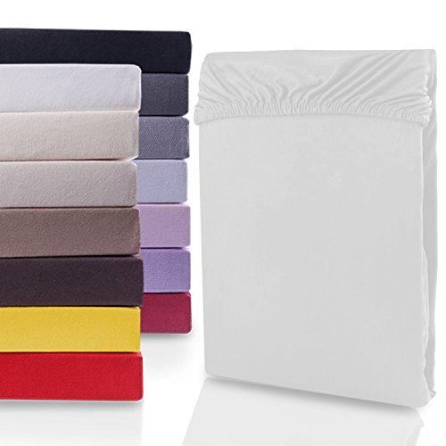 DecoKing 19672 200x220-220x240 cm Spannbettlaken weiß 100% Baumwolle Jersey Boxspringbett Spannbetttuch Bettlaken Betttuch White Nephrite Collection