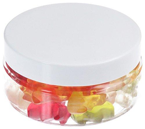 100 ml PET Tiegel transparent, flach, mit Plastikdeckel, weiß, 10 Stück